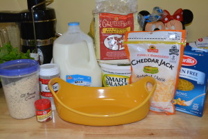 Ingredients for family favorite baked macaroni and cheese.