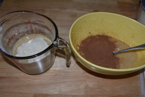Banana and chocolate batters.