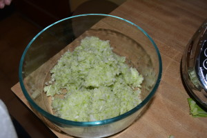 Squeeze water out of cabbage and add to bowl.