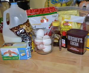 Gluten free flourless chocolate cake ingredients.
