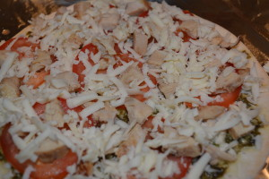 Pizza is ready to go into the oven.
