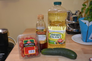 Tomato cucumber salad ingredients.