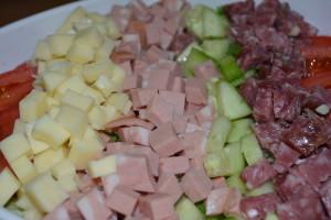 Carmine's Salad with chopped mortadella, provolone, and salami.