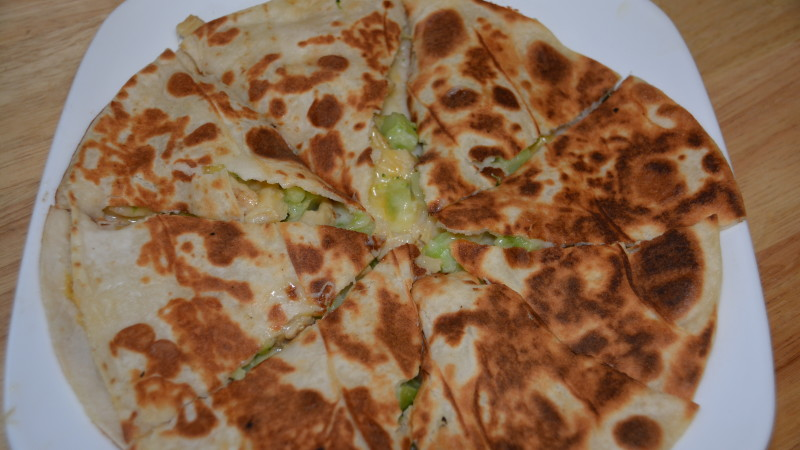 Quesadillas: chicken and broccoli