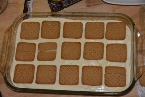 Top and final layer of gluten free graham crackers.