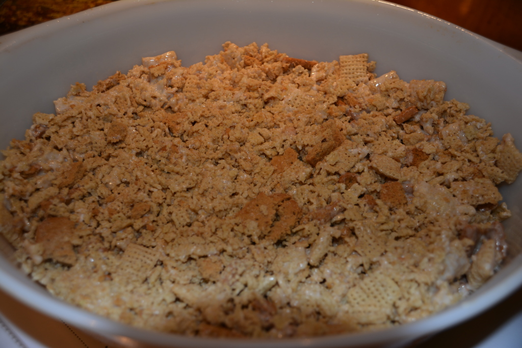 Press marshmallow cereal/cookie mixture into baking dish.