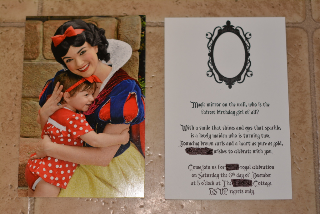 Snow White 2nd Birthday Party Postcard Invitation