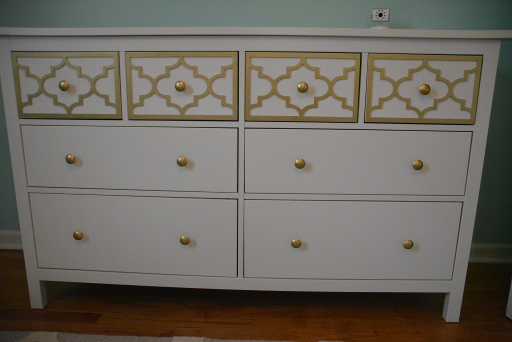 A revamped Ikea dresser with a few overlays and some spray paint!
