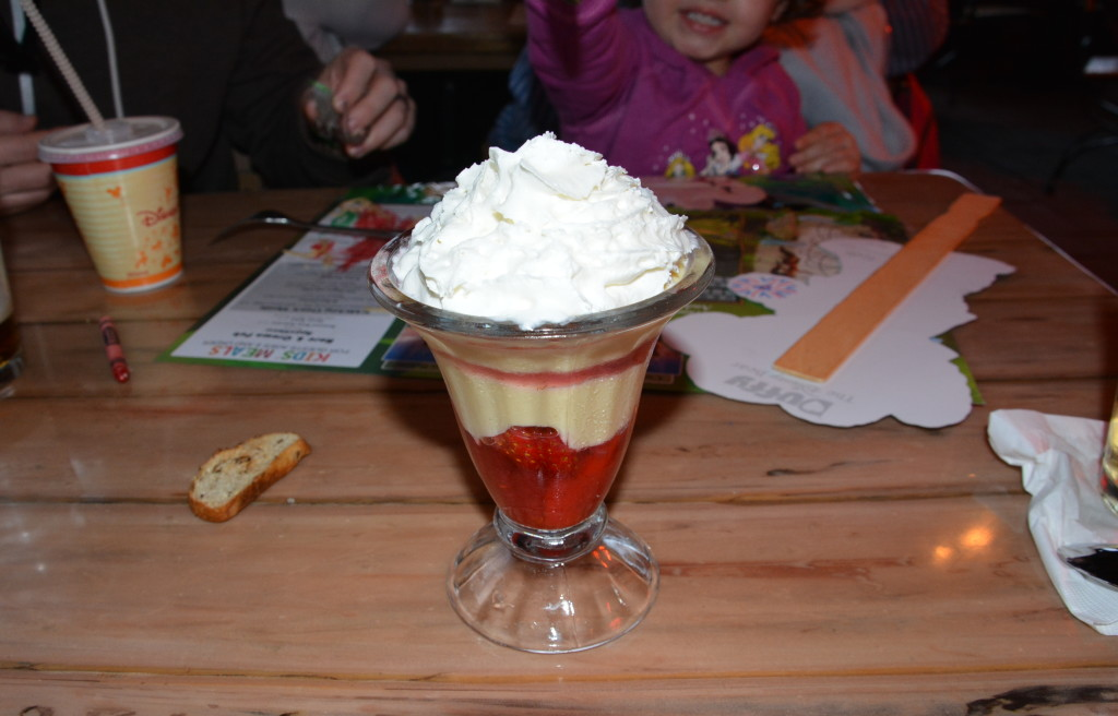 Rose and Crown gluten free English trifle with layers of fruit and custard, hold the cookie.